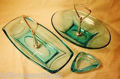 Mid Century Danish Mod Depression Glass Handled Tidbit Dishes ashtray Aqua Blue. Mad Men cool!