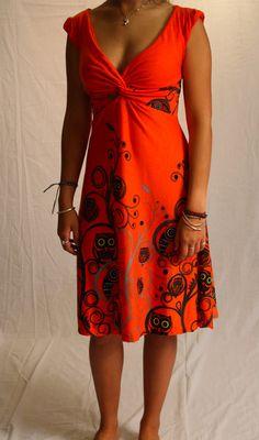 Traumkleid Jersey Kleid Damen orange Eulen-Muster von Mother Earth auf DaWanda.com