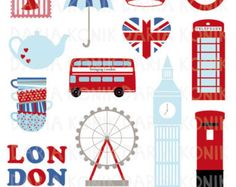 London Clip Art Set-City Clip Art, UK, England, Großbritannien, Clip Art Reise…