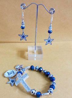 Dallas Cowboys Cross Charm Bracelet and Earrings