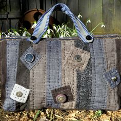 Hand quilted linen bag - HobbsHillqQuilts Etsy