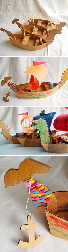 Cardboard ships - fun DIY rainy day project for kids