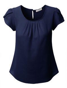 LE3NO Womens Chiffon Pleated Cap Sleeve Blouse Top