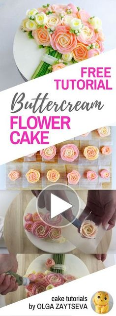 HOT CAKE TRENDS How to make Pink Roses Buttercream bouquet cake - Cake decorating tutorial by Olga Zaytseva. Learn how to pipe tiny jasmine, roses and buds and assemble a buttercream flower bouquet cake in variety of pink shades. #cakedecorating #cakedecoratingtechniques #cakedecoratingtutorials