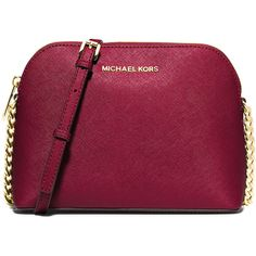 MICHAEL Michael Kors Cindy Large Dome Crossbody Bag (435 BRL) ❤ liked on Polyvore featuring bags, handbags, shoulder bags, purses, red, red handbags, purple purse, purple handbags, crossbody purses and chain shoulder bag