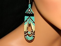 Native American Beaded Earrings Turquoise Quill by LakotaCharm
