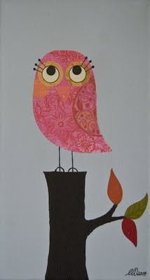 Pink Owl on a Log