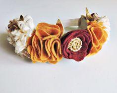 Fall Floral Baby Headband- Felt Flower Wreath- Maroon and Gold Felt Crown- Autumn Hair Accessory- Holiday Family Photo Prop