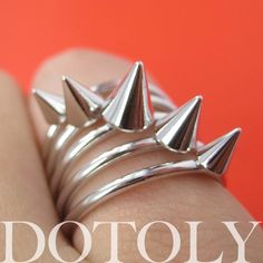 Spikes Studded Rocker Chic Ring Silver in Size 6 and 6.5 | dotoly - Jewelry on ArtFire