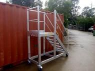 Custom designed rolling ladders Our Access Platforms are idea for manufacturing factories.