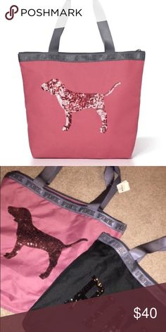 PINK Dog Tote NWT! Super cute tote bag with a sequin dog. No flaws. Second photo is mine! PINK Victoria's Secret Bags Totes