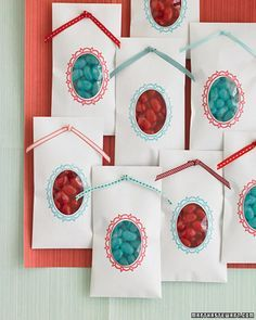 teal and poppy gift candy bags