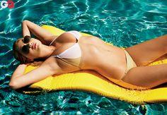 Photos: Kate Upton's GQ Cover Shoot. Bikini by Thomas Maier. Sunglasses by Ray-Ban. Necklace by Yakira Rona at Roseark.