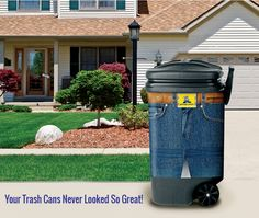 Blue Jeans Pantz Garbage Pantz are a series of decorative, slip-on trash can covers that look like actual pants. You can let others know that you recycle with the Recycle Puppy Pantz, or sit your t...