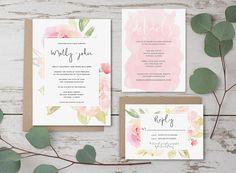 Watercolor MOLLY Invitation Set Pink and Blush