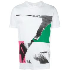 McQ Alexander McQueen wing collage T-shirt ($150) ❤ liked on Polyvore featuring men's fashion, men's clothing, men's shirts, men's t-shirts, white, mens white short sleeve shirt, mens white cotton shirts, mens patterned t shirts, mens short sleeve t shirts and mens cotton shirts