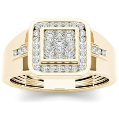 Handsome and noteworthy, this diamond fashion men's ring suits his distinguished style. Crafted in rose gold, the ring features a squared cluster of shimmering round diamonds at its center while a pair of triplet diamonds channel-set over the shank. Gold Diamond Rings, White Gold Diamonds, Gold Rings, Rose Gold, Emerald Rings, Ruby Rings, Green Diamond, Round Diamonds, Mens Band Rings