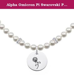 Alpha Omicron Pi Swarovski Pearl Necklace with Round Charm. These College jewelry pearl necklaces are the highest quality available. Made from solid sterling silver and white glass pearls. Up to date modern styling with traditional pearls make these necklaces extremely popular with today's college students and alumni.