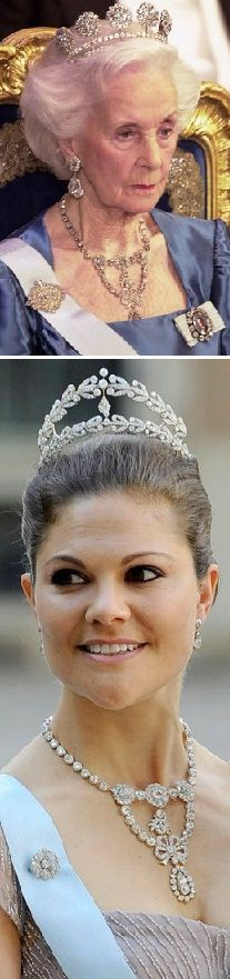 Passed on from generation to generation of the House of Bernadotte, the Royal House of Sweden.   At the wedding in Stockholm 2013 Crown Princess Victoria wore Queen Josefinas corsage necklace. Her aunt, Princess Lilian wore the necklace, and the double tiara, many times until her death, when she left it to her niece, Victoria.