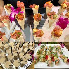 Ahi Tuna Poke Cones, Clam Chowder Shots, Vegan Spring Rolls