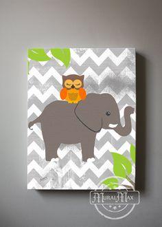 Owl and Elephant canvas art  Baby Nursery print  by MuralMAX