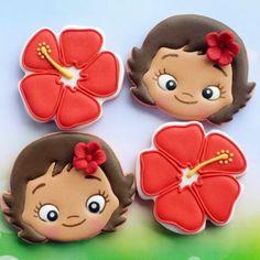 Sugar Cookie Icing, Royal Icing Cookies, Sugar Cookies, Sweet Cookies, Cute Cookies, Moana Cookies, Moana Party Decorations, Hawaiian Cookies, Brookies Cookies