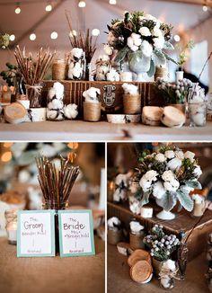 Geerdet. Tischdeko mit Baumwolle und Holz - Hochzeitsblog Fräulein K. Sagt Ja