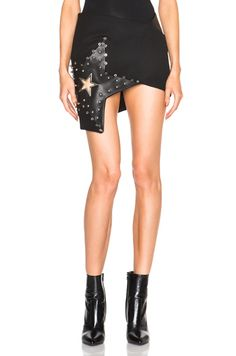 Anthony Vaccarello Eyelet & Leather Stars Skirt in Black