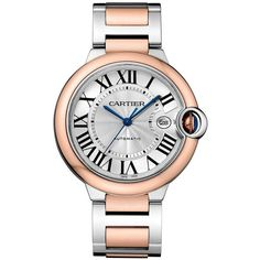 Cartier Ballon Bleu de Cartier 18K Pink Gold & Stainless Steel... (78.985 DKK) ❤ liked on Polyvore featuring jewelry, watches, pink watches, pink jewelry, faux watches, water resistant watches and fake jewelry