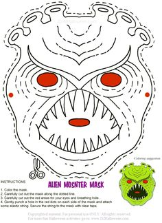 Printable Alien Monster Mask. More masks and other Halloween fun at imHalloween.com.
