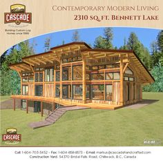 A beautiful contemporary modern timber frame design that allows lots of natural lighting. This plan could also be built with Western Red Cedar Logs. Timber Frame Cabin, Timber House, Log Home Floor Plans, House Plans, Log Home Builders, Cedar Log, Red Cedar, Log Homes, Tiny Homes
