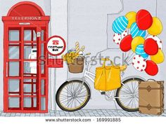 Telephone booth with bike
