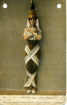 A printed Russian postcard of Anna Pavlova in Daughter of the Pharaoh.