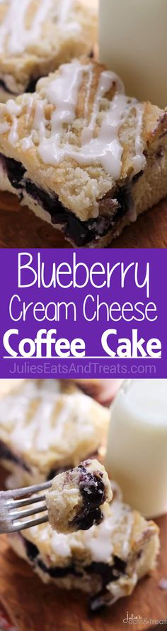 Blueberry Cream Cheese Coffee Cake ~ Delicious Coffee Cake Stuffed with Blueberries and Cream Cheese! Topped with a Crumb Topping and Glaze! ~ http://www.julieseatsandtreats.com