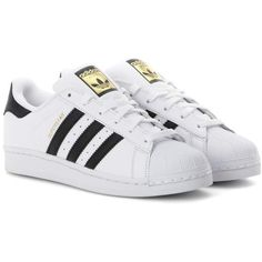 Adidas Originals Superstar Leather Sneakers (1.340.740 IDR) ❤ liked on Polyvore featuring shoes, sneakers, white, white trainers, white sneakers, adidas originals, white leather trainers and leather trainers