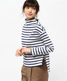 GALLARDAGALANTE(ガリャルダガランテ)のボーダーボトルカットソー(Tシャツ/カットソー)|ブルー Japan Fashion, Look Fashion, Womens Fashion, Classic Style, Style Me, Hijab Chic, Stripes Fashion, Casual, How To Wear