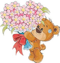 Buy Vector Illustration of a Brown Teddy Bear Holding by vectorpocket on GraphicRiver. Vector illustration of a brown teddy bear holding in its paws a bouquet of flowers in the shape of a heart. Tatty Teddy, Bear Vector, Vector Art, Gift Vector, Urso Bear, Cute Banners, Christmas Teddy Bear, Brown Teddy Bear, Love Illustration
