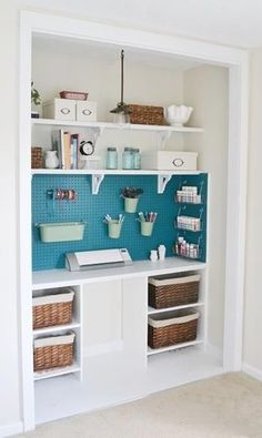 convert a closet to have desk space on bottom but maybe still hanging poles on one or both sides. Like the painted peg board to use for storage and display.