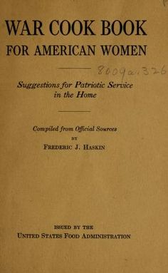 War cook book for American women : suggestions ...