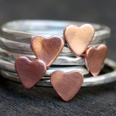 Sterling Silver Stacking Rings   Rustic Romance  by lovestrucksoul, $96.00