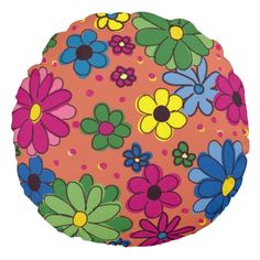 Cute Orange with Colorful Hand Drawn Flowers Round Pillow