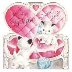 Vintage Kittens Playing on Pink Chair Hallmark Valentine Greeting Card
