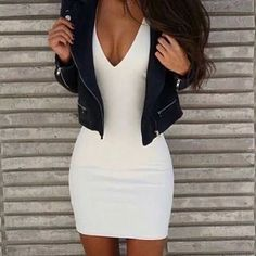 / white bodycon dress + jacket cute outfits for girls 2017 Trendy Outfits, Fall Outfits, Summer Outfits, Fashion Outfits, Womens Fashion, Clubbing Outfits, Dress Fashion, Fashion Clothes, Vegas Outfits