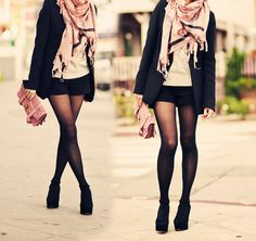 pink scarf + white top/jumper + black coat + stocking + black shoes + similar coloured purse (with scarf)