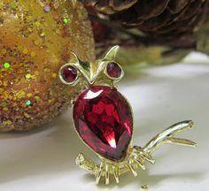 Vintage Owl Brooch Signed Dodds Red Fushia by SweetJennsVtgJewelry, $26.50