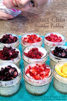 Yogurt Chia Breakfast Puddings are perfect 4 oz serving sizes, made with healthy, homemade yogurt and other nutrient-dense ingredients. Being able to make them up ahead, means my family has a quick and easy breakfast option available, even when the morning is hectic.