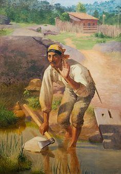 """""""Amolação Interrompida"""". (1894). (by José Ferraz de Almeida Júnior). Pinacoteca do Estado de São Paulo."""
