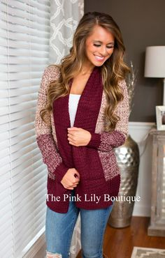 All Of Me Burgundy Pocket Cardigan - The Pink Lily Boutique