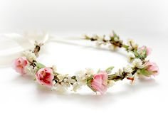 Ivory and Pink Blossoms Floral Crown Flower Hair by rosesandlemons, $44.00
