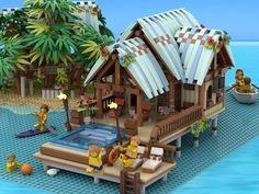 Lego Hospital, Lego Beach, Lego Humor, Lego Boards, Water Villa, Amazing Lego Creations, Colorful Parrots, Lego Castle, Sims 4 Build